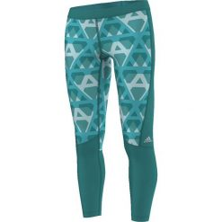 Spodnie damskie: Adidas Legginsy Techfit Long Tight Print zielone r. M (AI2964)