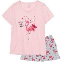 Piżamy damskie: Piżama z krótkimi spodenkami bonprix jasnoróżowo-jasnoszary melanż z nadrukiem