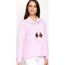Różowa Bluzka Different Rose. Czerwone bluzki asymetryczne Born2be, s, z aplikacjami, z długim rękawem. Za 49,99 zł.