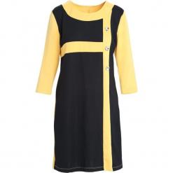 Żółto-Czarna Sukienka Since You're Gone. Czarne sukienki marki Born2be, na jesień, xl, midi, oversize. Za 49,99 zł.