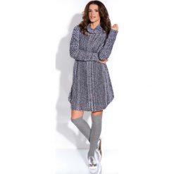 Odzież damska: Czarna Tunika Ażurowa Luźna z Golfem