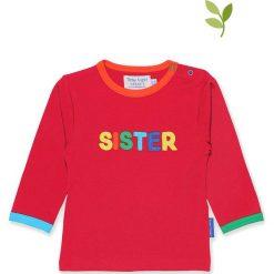 Koszulka w kolorze czerwonym. Czerwone bluzki dziewczęce bawełniane Toby Tiger, z aplikacjami, z okrągłym kołnierzem, z długim rękawem. W wyprzedaży za 85,95 zł.