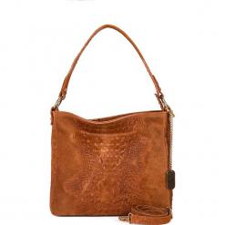 Skórzana torebka w kolorze brązowym - 29 x 24 x 8 cm. Brązowe torebki klasyczne damskie Anna Morellini, w paski, z materiału. W wyprzedaży za 217,95 zł.