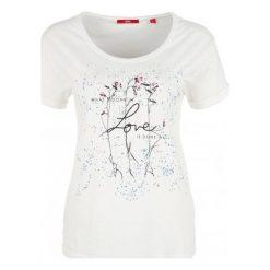 Bluzki, topy, tuniki: S.Oliver T-Shirt Damski 42 Kremowy