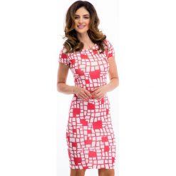 Czerwona Sukienka w Białe Wzory 3372. Czerwone sukienki marki Fasardi, l. Za 34,00 zł.