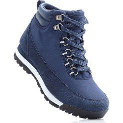 Kozaki trekkingowe bonprix ciemnoniebieski. Niebieskie buty sportowe męskie marki bonprix, z materiału. Za 79,99 zł.