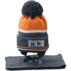 Czapka dziecięca z szalikiem CZ+S 024D szaro-pomarańczowa r. 46-50. Brązowe czapeczki niemowlęce Proman. Za 45,25 zł.