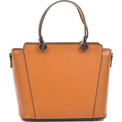 Torebki i plecaki damskie: Skórzana torebka w kolorze jasnobrązowym – (S)22,5 x (W)26 x (G)13 cm