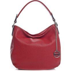 Shopper bag damskie: Skórzana torebka w kolorze czerwonym – 30 x 20 x 8 cm