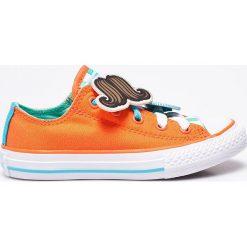 Converse - Tenisówki dziecięce. Szare buty sportowe dziewczęce marki Converse, z materiału, z okrągłym noskiem, na sznurówki. W wyprzedaży za 129,90 zł.