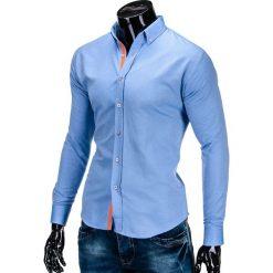 KOSZULA MĘSKA Z DŁUGIM RĘKAWEM K300 - BŁĘKITNA. Brązowe koszule męskie na spinki marki Ombre Clothing, m, z aplikacjami, z kontrastowym kołnierzykiem, z długim rękawem. Za 39,00 zł.