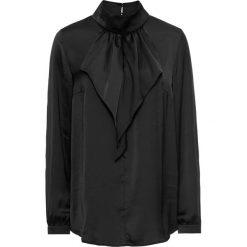 Bluzki damskie: Bluzka satynowa z falbanami bonprix czarny