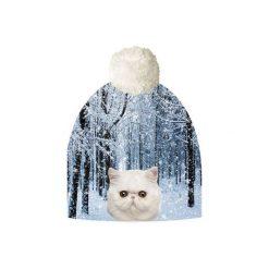 Czapka hauer CAT IN FOREST. Czarne czapki zimowe damskie marki Hauer, z nadrukiem, z polaru. Za 69,00 zł.