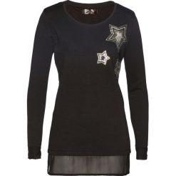 Bluza bonprix czarny. Czarne bluzy damskie bonprix, z aplikacjami, z szyfonu. Za 74,99 zł.