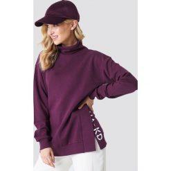 NA-KD Bluza z rozcięciami - Purple. Fioletowe długie bluzy damskie NA-KD, z haftami, z długim rękawem. Za 161,95 zł.