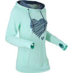 Bluza z nadrukiem, długi rękaw bonprix pastelowy miętowy. Zielone bluzy rozpinane damskie bonprix, z nadrukiem, z długim rękawem, długie. Za 99,99 zł.