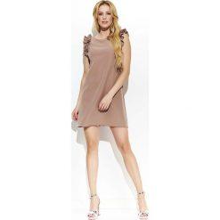 Cappuccino Casualowa Trapezowa Mini Sukienka z Falbankami. Czarne sukienki mini marki bonprix, do pracy, w paski, biznesowe, moda ciążowa. Za 115,90 zł.