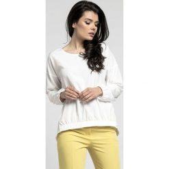 Bluzki damskie: Ecru Oversizowa Asymetryczna Bluzka z Gumkami