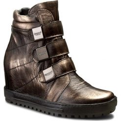 Botki EKSBUT - 4319-G79-1G Czarny/Miedź. Brązowe buty zimowe damskie Eksbut, ze skóry, na obcasie. W wyprzedaży za 259,00 zł.