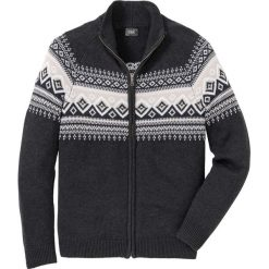 Sweter rozpinany Regular Fit bonprix antracytowy melanż. Szare kardigany męskie marki bonprix, l, melanż. Za 99,99 zł.