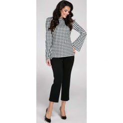 Elegancka Bluzka z Rozkloszowanym Rękawem w Kratkę. Szare bluzki asymetryczne Molly.pl, l, w kratkę, z jeansu, biznesowe, z długim rękawem. Za 102,90 zł.