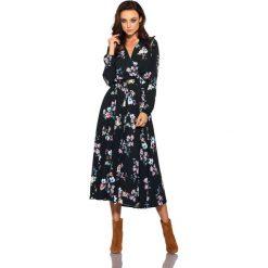 Modna sukienka midi czarny w kwiatki. Czarne sukienki hiszpanki Lemoniade, na jesień, w kwiaty, z materiału, midi. Za 249,90 zł.