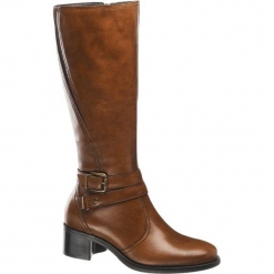 Kozaki damskie 5th Avenue koniakowe. Brązowe buty zimowe damskie marki 5th Avenue, z materiału, na obcasie. Za 279,90 zł.