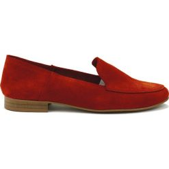 Mokasyny damskie: Skórzane mokasyny w kolorze czerwonym