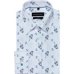 Koszula SIMONE KDWS000292. Niebieskie koszule męskie na spinki marki bonprix, m, z nadrukiem, z klasycznym kołnierzykiem, z długim rękawem. Za 169,00 zł.