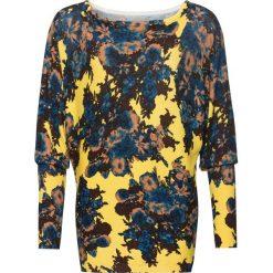 Sweter bonprix żółto-niebiesko-brązowy w kwiaty. Żółte swetry klasyczne damskie marki bonprix. Za 109,99 zł.