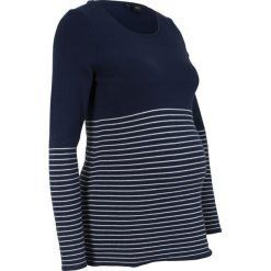 Sweter ciążowy bonprix ciemnoniebieski w paski. Niebieskie swetry klasyczne damskie bonprix, moda ciążowa. Za 89,99 zł.
