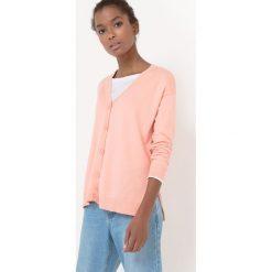 Sweter rozpinany z dekoltem w szpic l V, bawełna i jedwab. Szare kardigany damskie marki La Redoute Collections, m, z bawełny, z kapturem. Za 94,50 zł.