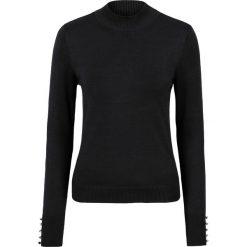 Swetry klasyczne damskie: Sweter z dzianiny o gładkim splocie drobnych oczek bonprix czarny