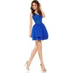 Sukienki: Wieczorowa sukienka mini z koronką chabrowa