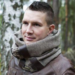 Szaliki damskie: Szal wełniany ze skórą, Komin Unisex - brązowy