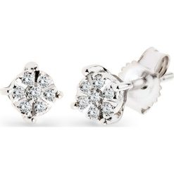 Piękne Kolczyki Białe Złoto - złoto białe 333, Diament 0,06ct. Białe kolczyki damskie W.KRUK, z diamentem, złote. Za 1290,00 zł.
