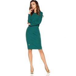 Ciemno Zielona Elegancka Dopasowana Sukienka z Patkami na Guzik. Zielone sukienki balowe marki Reserved, z wiskozy. Za 158,90 zł.