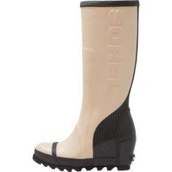 Sorel JOAN RAIN WEDGE TALL Kalosze beach/black. Czarne buty zimowe damskie marki Sorel, z materiału. W wyprzedaży za 337,05 zł.