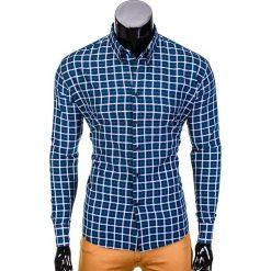 KOSZULA MĘSKA W KRATĘ Z DŁUGIM RĘKAWEM K387 - GRANATOWA/ZIELONA. Zielone koszule męskie na spinki Ombre Clothing, m, z długim rękawem. Za 49,00 zł.