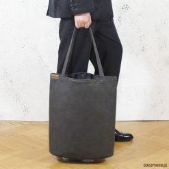 Shopper bag XL grafit na zamek/ torba na codzień. Szare shopper bag damskie Pakamera, na ramię. Za 155,00 zł.