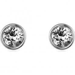 Kolczyki w kolorze srebrnym z Swarovski. Szare kolczyki damskie Biżuteria z kryształkami Swarovski, z kryształem, srebrne. W wyprzedaży za 45,95 zł.