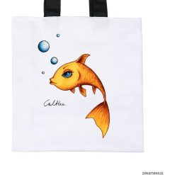 Złota rybka - torba premium (kolory). Żółte shopper bag damskie Pakamera, z materiału. Za 79,00 zł.
