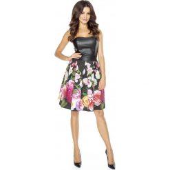 Sukienka w Kwiaty ze Skórzanym Gorsetem. Czarne sukienki koktajlowe Molly.pl, l, w kwiaty, ze skóry, z gorsetem, dopasowane. Za 278,90 zł.