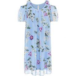 Sukienki: Sukienka z materiału w optyce jedwabiu, z wycięciami na ramionach bonprix jasnoniebieski z nadrukiem