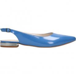 Baleriny LANZA. Niebieskie baleriny damskie Gino Rossi, w paski, ze skóry. Za 149,90 zł.