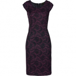 Sukienka ołówkowa Premium z koronkowym nadrukiem bonprix czarny bez - czarny. Fioletowe sukienki koronkowe bonprix, z nadrukiem, dopasowane. Za 159,99 zł.