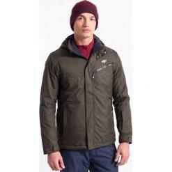 Kurtka narciarska męska KUMN005z - khaki melanż - 4F. Brązowe kurtki męskie zimowe 4f, m, melanż, z dzianiny, z kapturem. Za 299,99 zł.