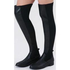 Czarne Kozaki Keenness. Czarne buty zimowe damskie vices, z materiału, z okrągłym noskiem, na obcasie. Za 119,99 zł.