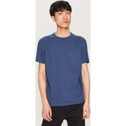 T-shirty męskie: T-shirt z melanżowanej dzianiny – Granatowy