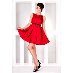 Klara SUKIENKA KONTRAFAŁDA - Czerwona. Czerwone sukienki na komunię numoco, z materiału, rozkloszowane. Za 119,99 zł.